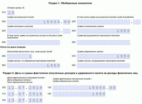 Увольнение в 6 ндфл пример заполнения