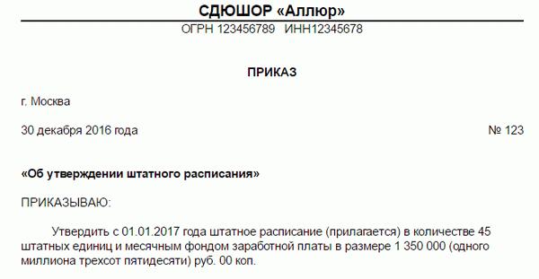Служебная записка о изменении штатного расписания ⋆ Citize